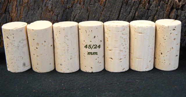 Bouchons de liège Cylindriques 45×24 mm Naturels O2E (6-8 ans)