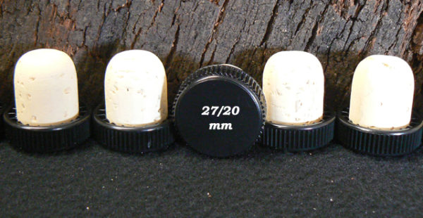 Bouchons liège à Tête plastique noire liège naturel 29x27/20 mm