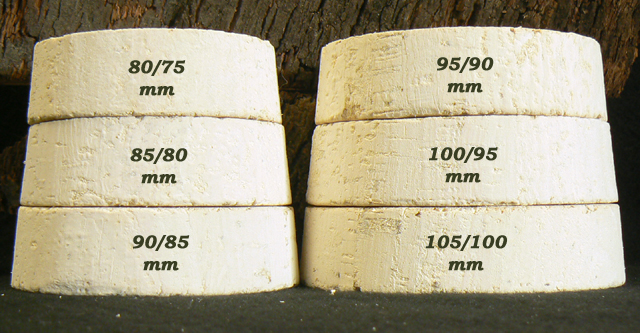 Bouchons de liège coniques Bocaux Liège Sanpor hauteur 25 mm.