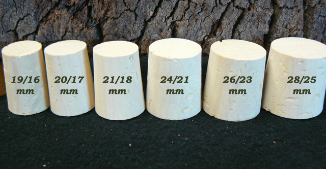 Bouchons de liège coniques Brocquillons Liège Sanpor hauteur 27 mm.