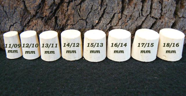 Bouchons de liège coniques Topillons Liège Sanpor hauteur 15 mm.
