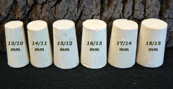 Bouchons de liège coniques Topettes Liège Sanpor hauteur 25 mm.