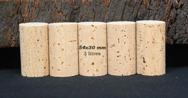 Bouchon liège naturel 54x30 mm pour bouteilles 3 litres