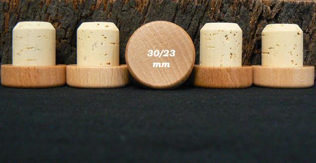 bouchon liege tete bois verni 34/30x23mm en vente sur alienatur