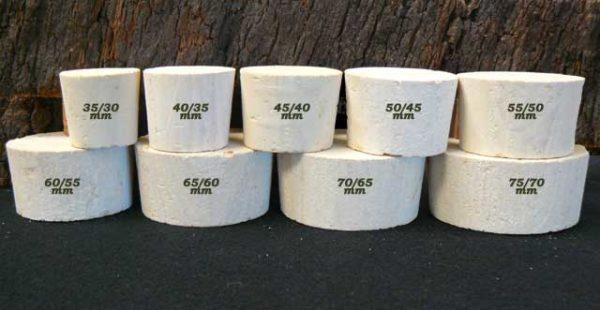 Bouchons de liège coniques Bondes Liège Sanpor hauteur 33 mm