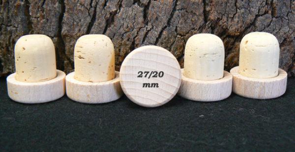 Bouchons liège à Tête bois brut à personnaliser