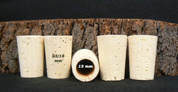 Bouchon 33/23x18 percé pour verseurs sur Âme du liège