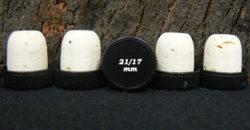 Vente bouchons tete plastique noire liege naturel 23x21/17 pour Ariane 20cl sur Âme du liège