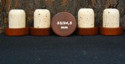 Bouchon tete bois marron 37mm liège naturel 33x24,5 mm sur Âme du liège