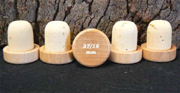 Achat de bouchons tete bois verni 29 27/19mm sur Âme du liège