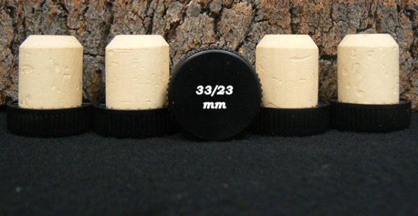 Achat de bouchons Tête plastique noire 32 33x23mm sur Âme du liège