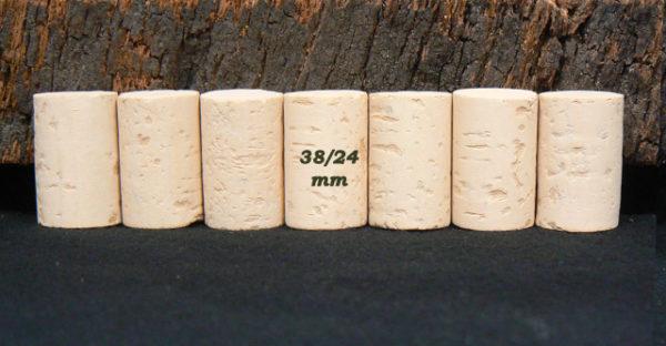 Bouchons de liège Cylindriques 38x24 mm Sanpor M (2-3 ans) (Col Ø 18,5 mm)