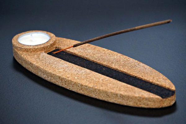 Porte-encens support de bougie en liège naturel